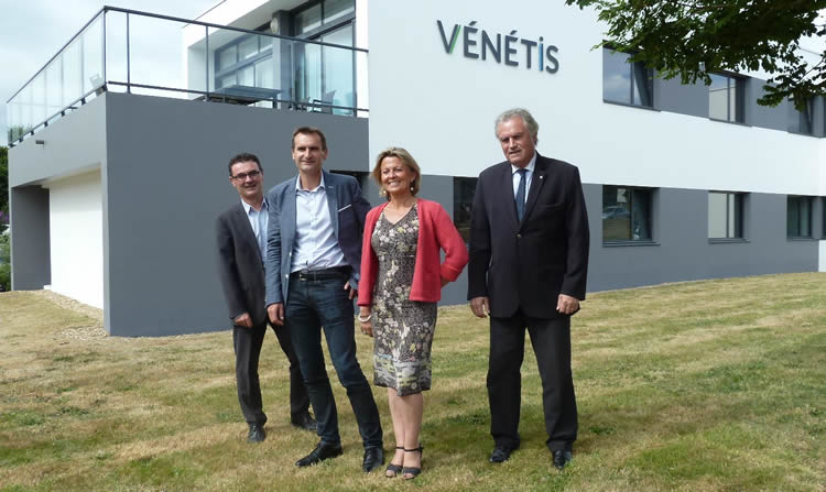 De gauche à droite, Franck Delalande, (directeur de Vénétis), Jérôme Bazin, (président), Christine Ropers, (vice-présidente) et Loïc Pilorget (président sortant)