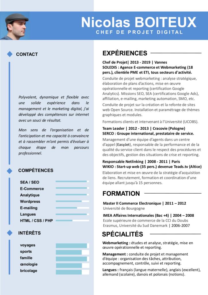 CV chef de projet digital