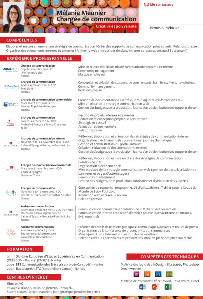 CV de Mélanie Meunier Chargée de communication Vénétis